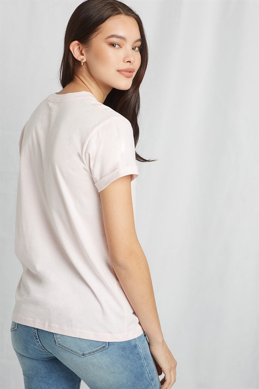 Eco-Friendly Graphic Organic Cotton T-Shirt Light Pink