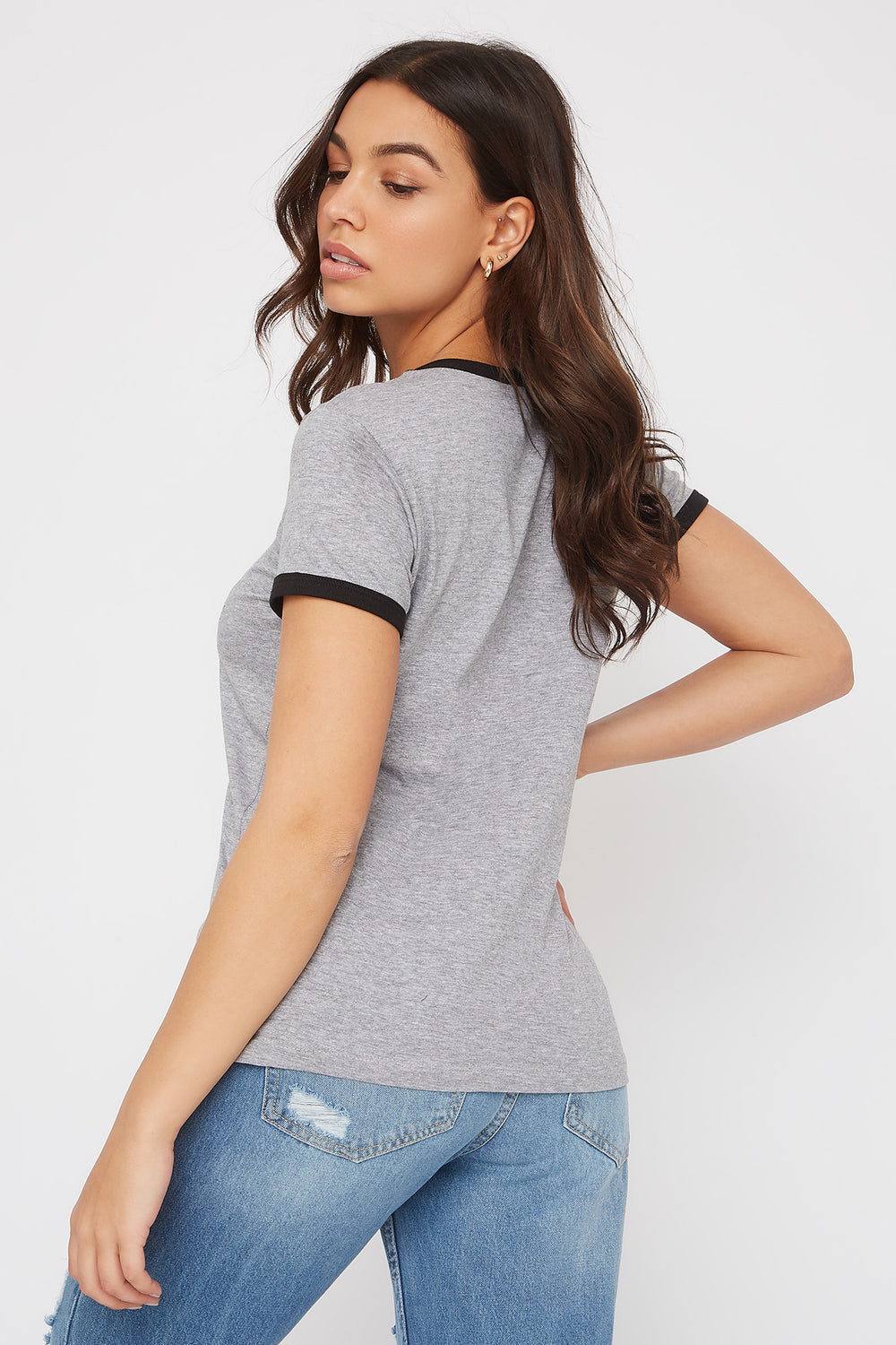 Ringer Graphic T-Shirt Heather Grey