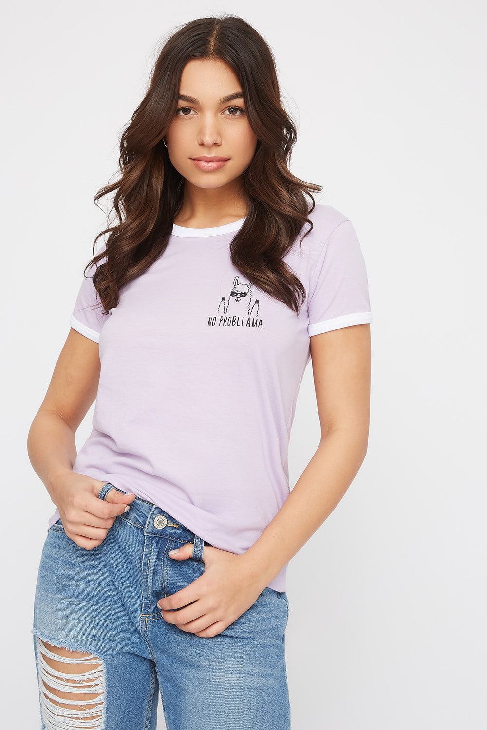 Ringer Graphic T-Shirt Lilac