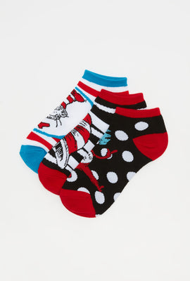 Cat In The Hat Ankle Socks (3 Pairs)