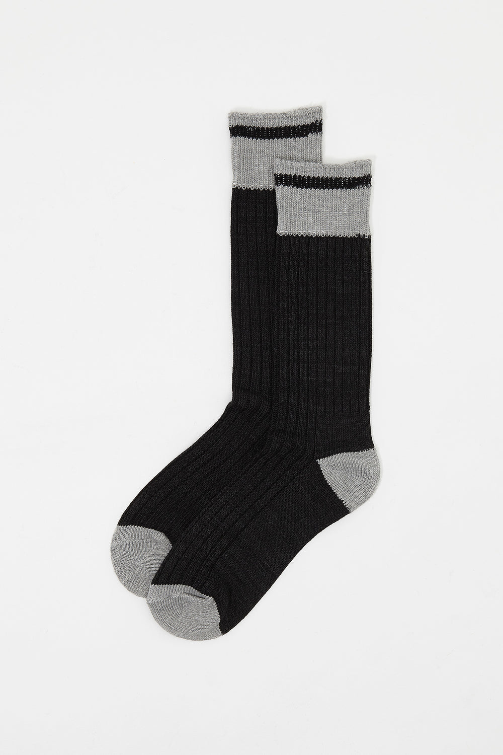 Contrast Stripe Boot Socks (2 Pairs) Charcoal