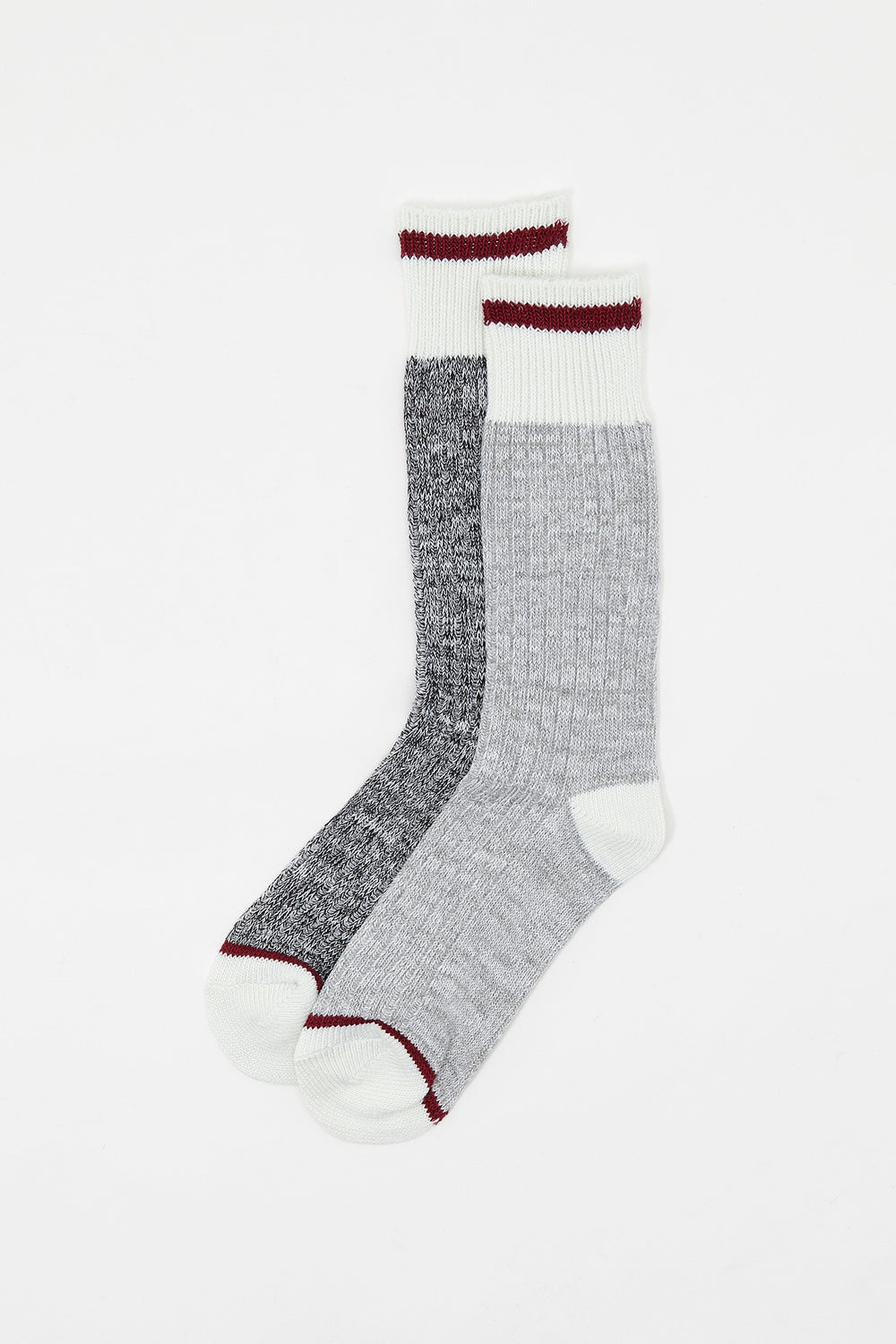 Contrast Stripe Boot Socks (2 Pairs) Heather Grey