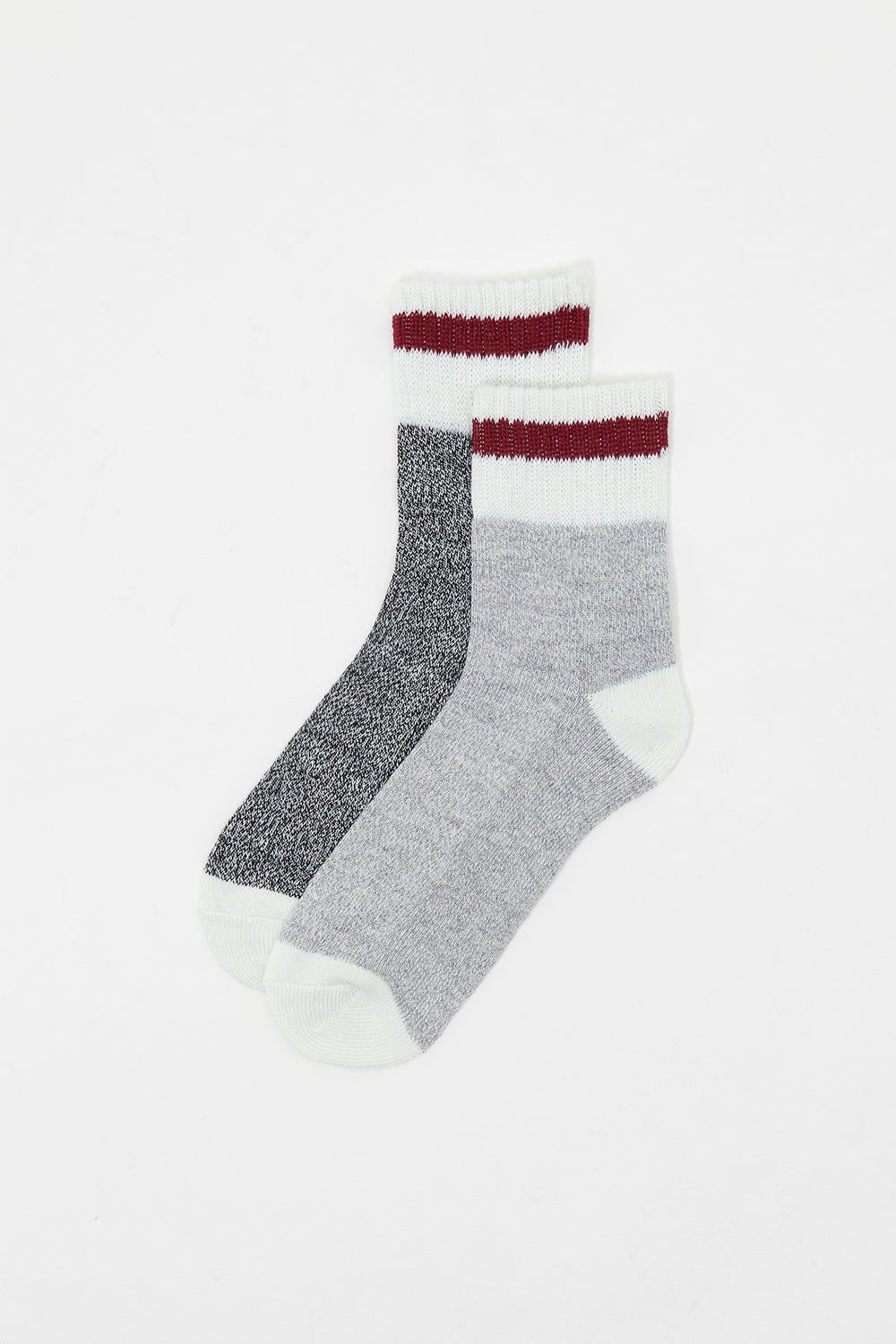 Contrast Stripe Quarter Boot Socks (2 Pairs) Heather Grey