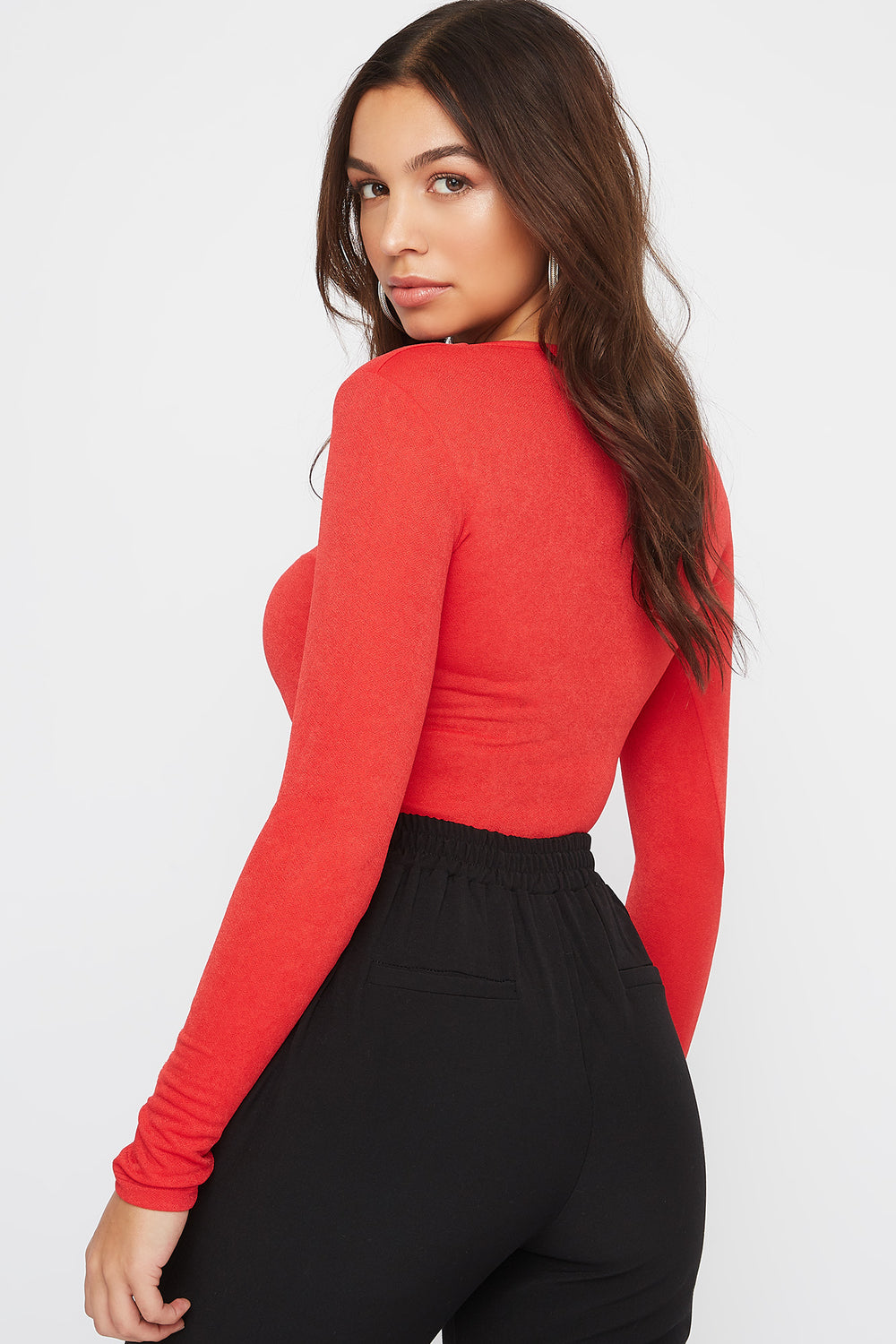 Square Neck Hook-and-Eye Bodysuit Red