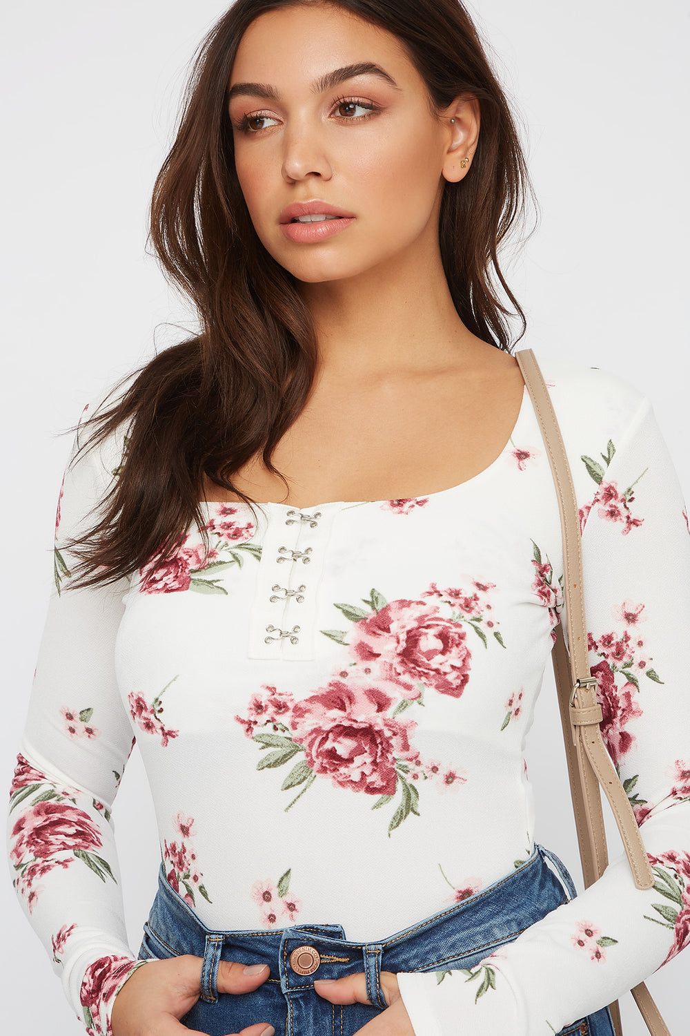 Floral Square Neck Hook-and-Eye Bodysuit White