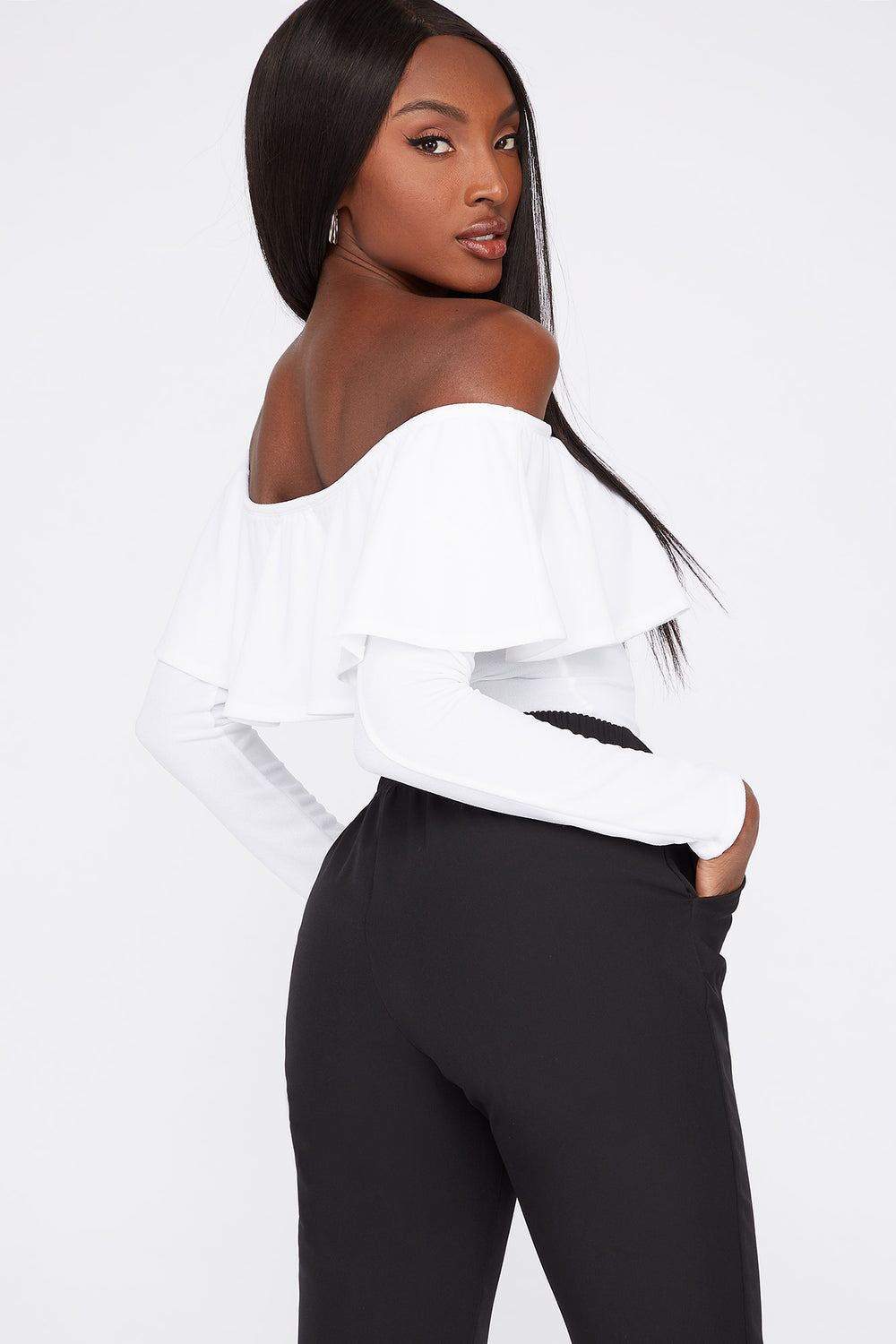Off the Shoulder Ruffle Long Sleeve Bodysuit White