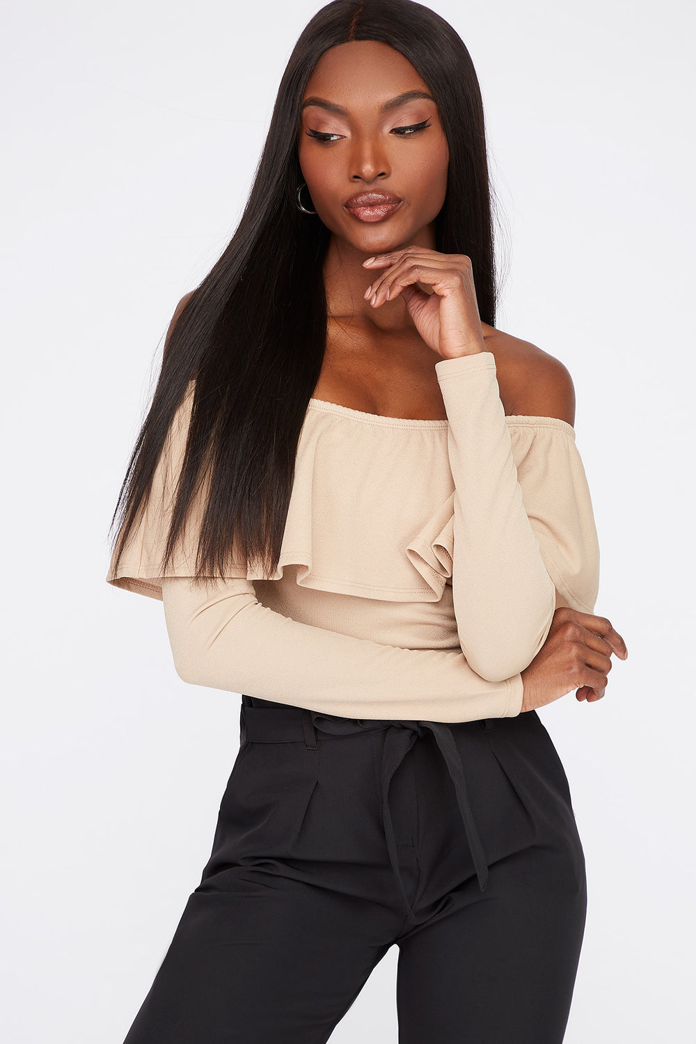 Off the Shoulder Ruffle Long Sleeve Bodysuit Sand