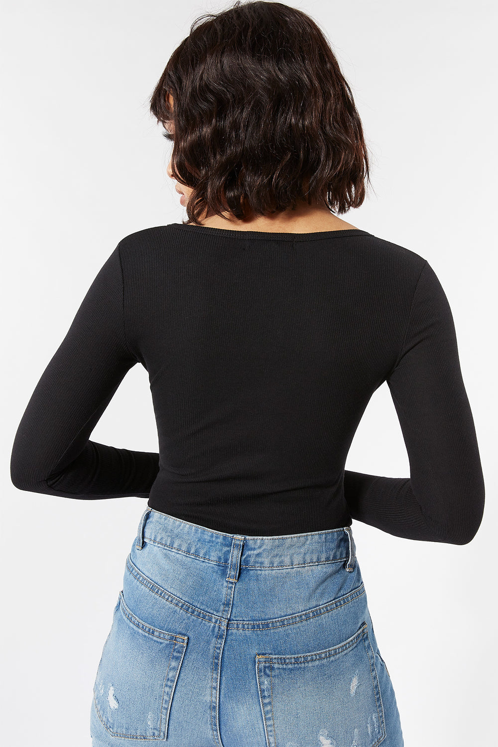 Ribbed Snap-Button Front Long Sleeve Bodysuit Black