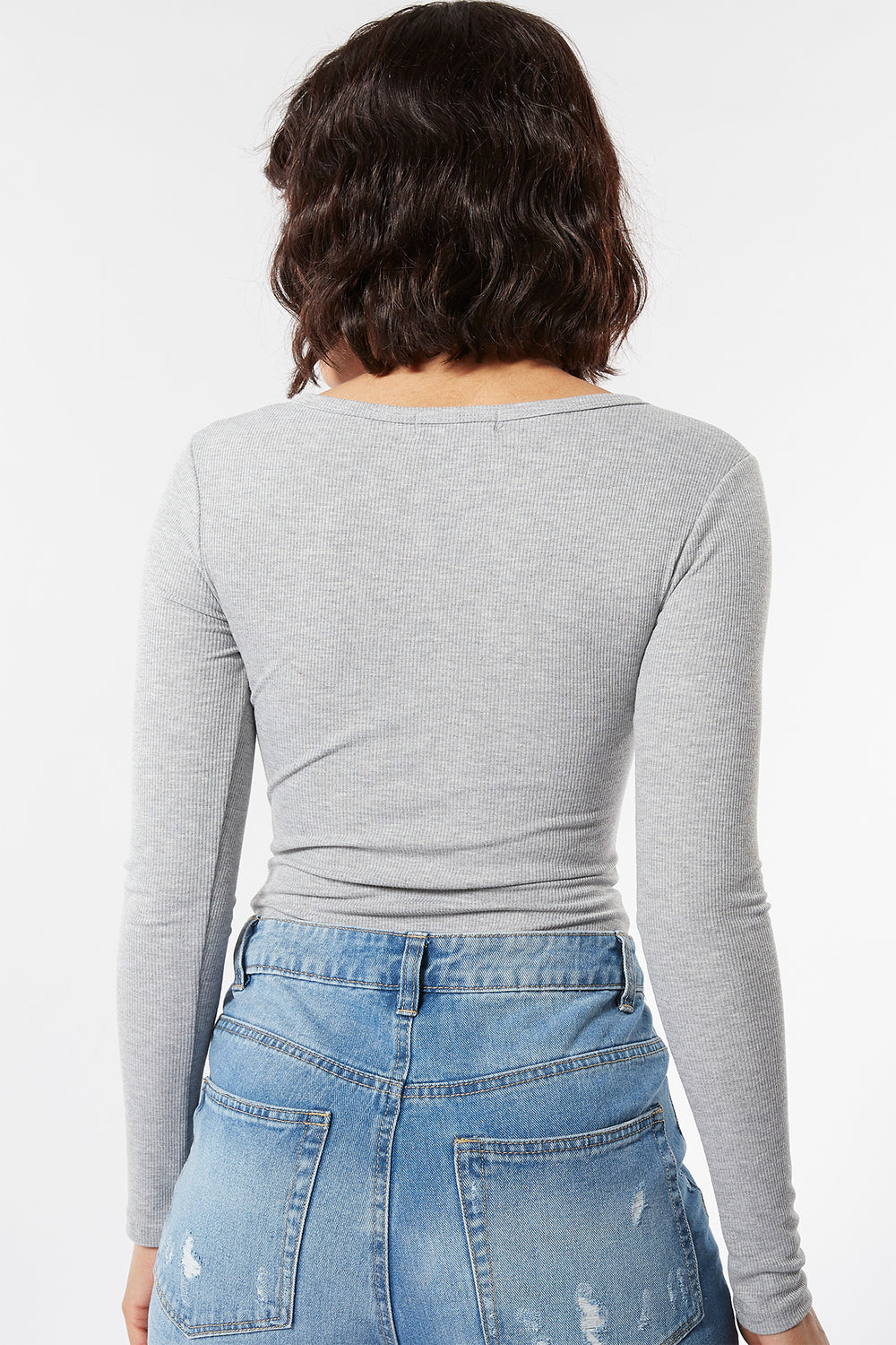 Ribbed Snap-Button Front Long Sleeve Bodysuit Heather Grey