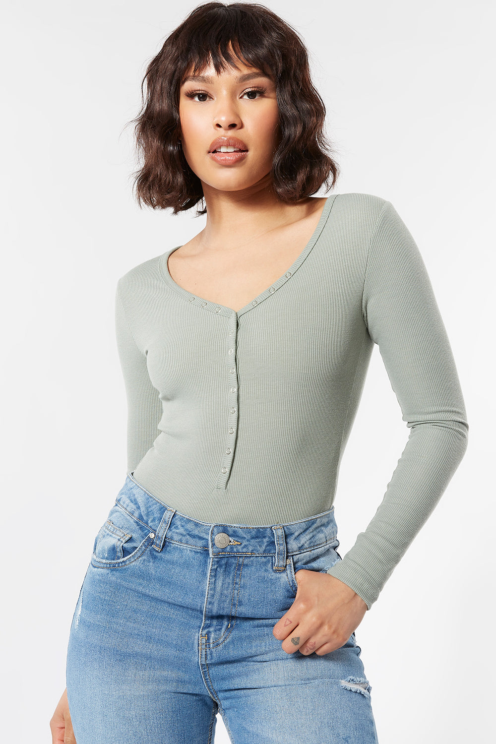 Ribbed Snap-Button Front Long Sleeve Bodysuit Dark Green