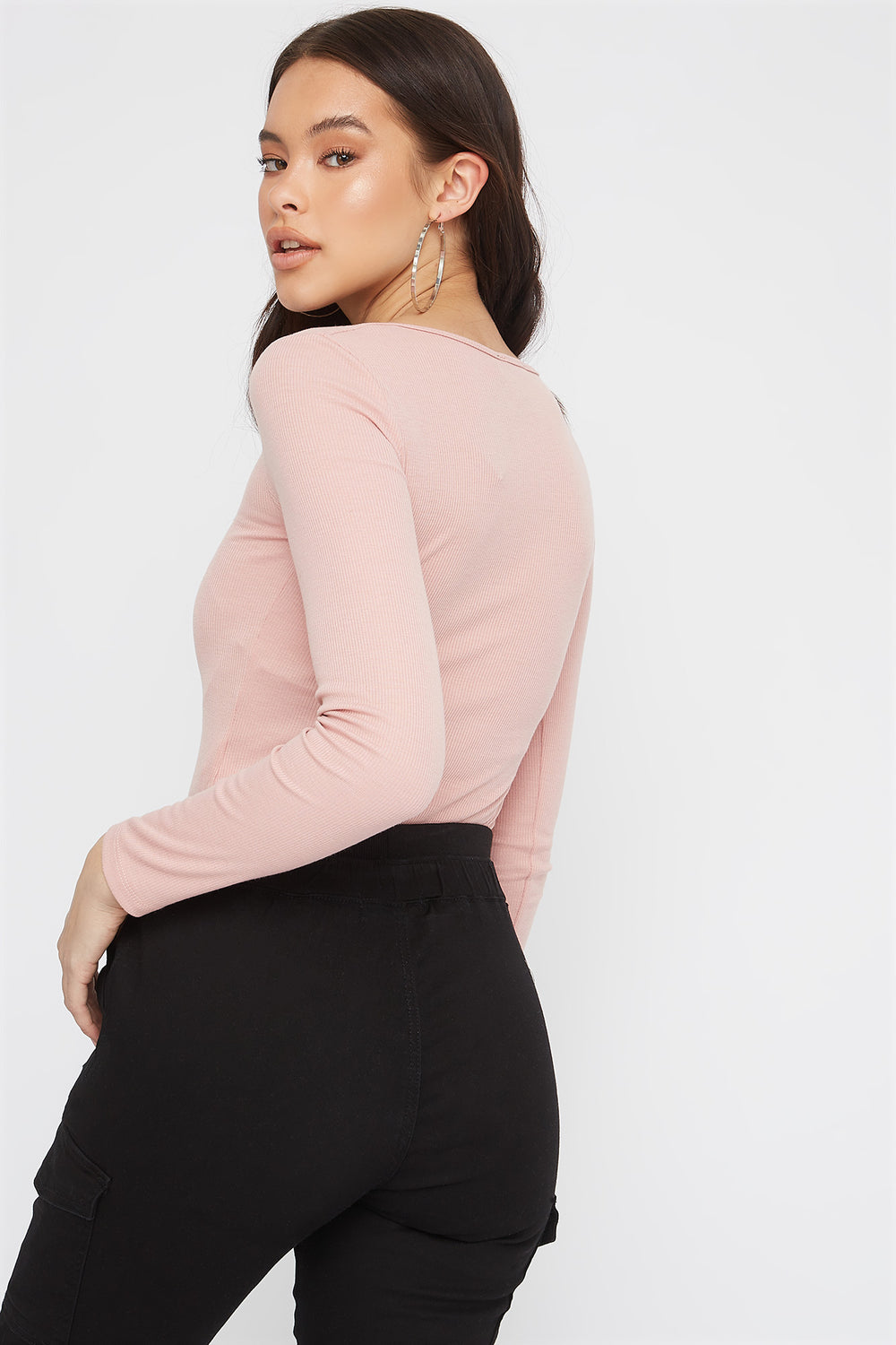 Ribbed Zip-Up Long Sleeve Bodysuit Rose