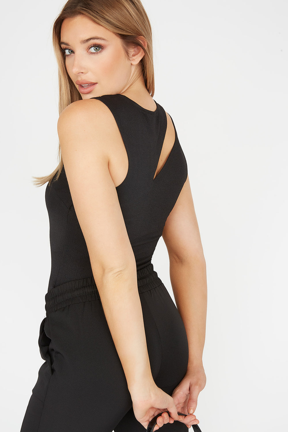 Ribbed Cut-Out Sleeveless Bodysuit Black