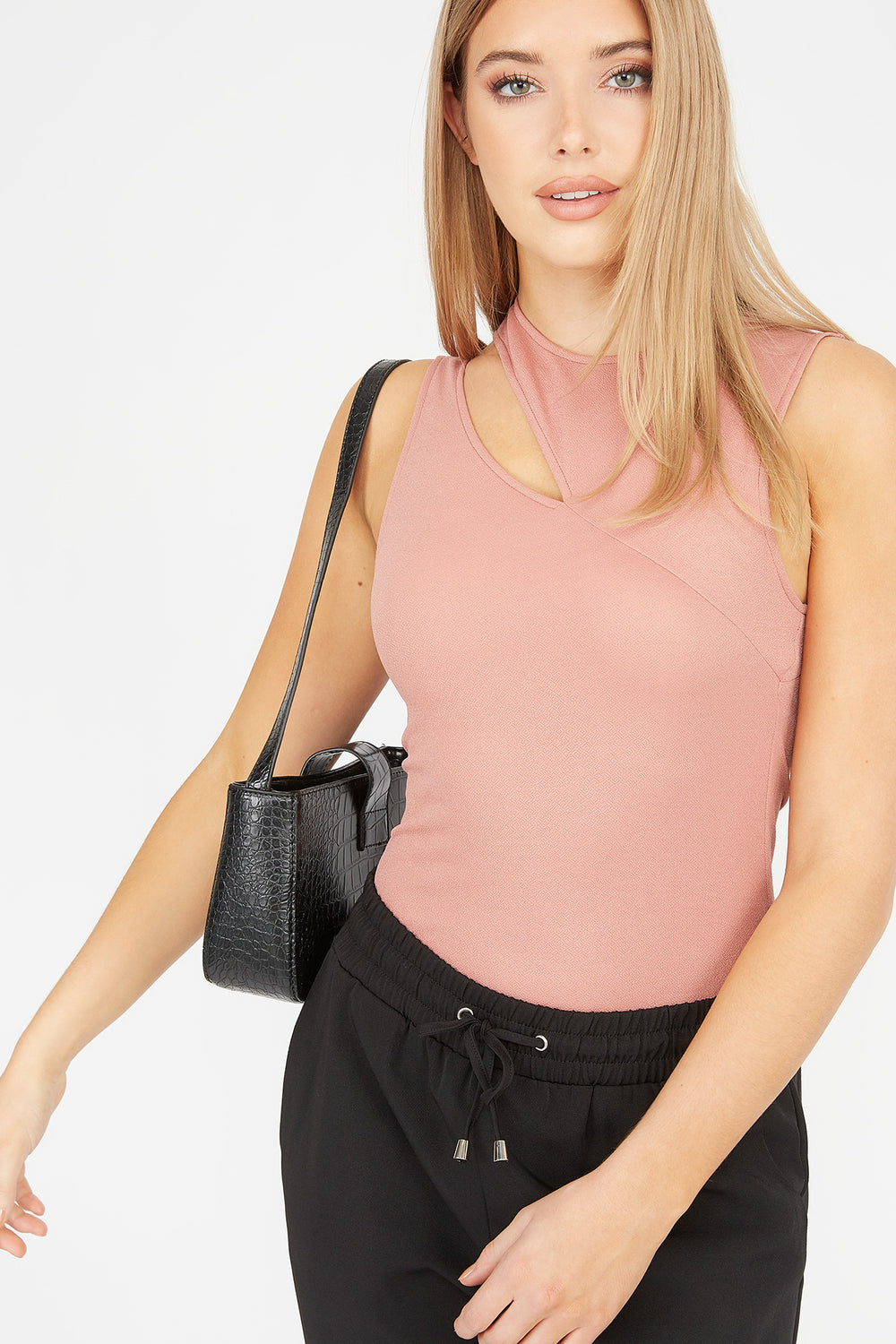 Ribbed Cut-Out Sleeveless Bodysuit Pink