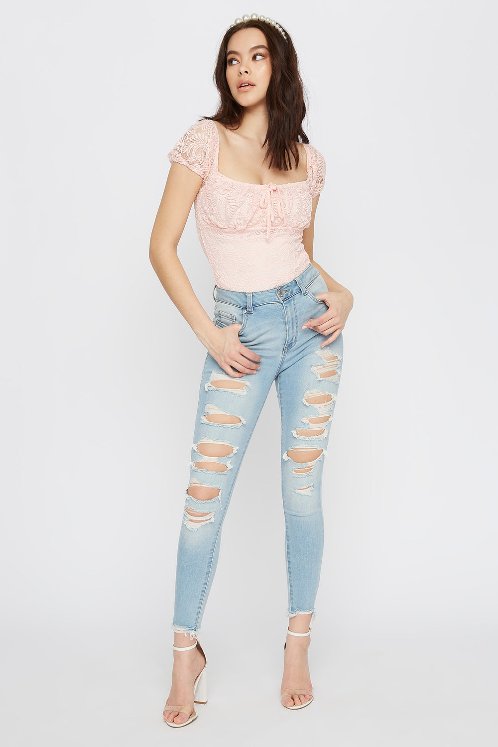 Lace Square Neck Bodysuit Rose