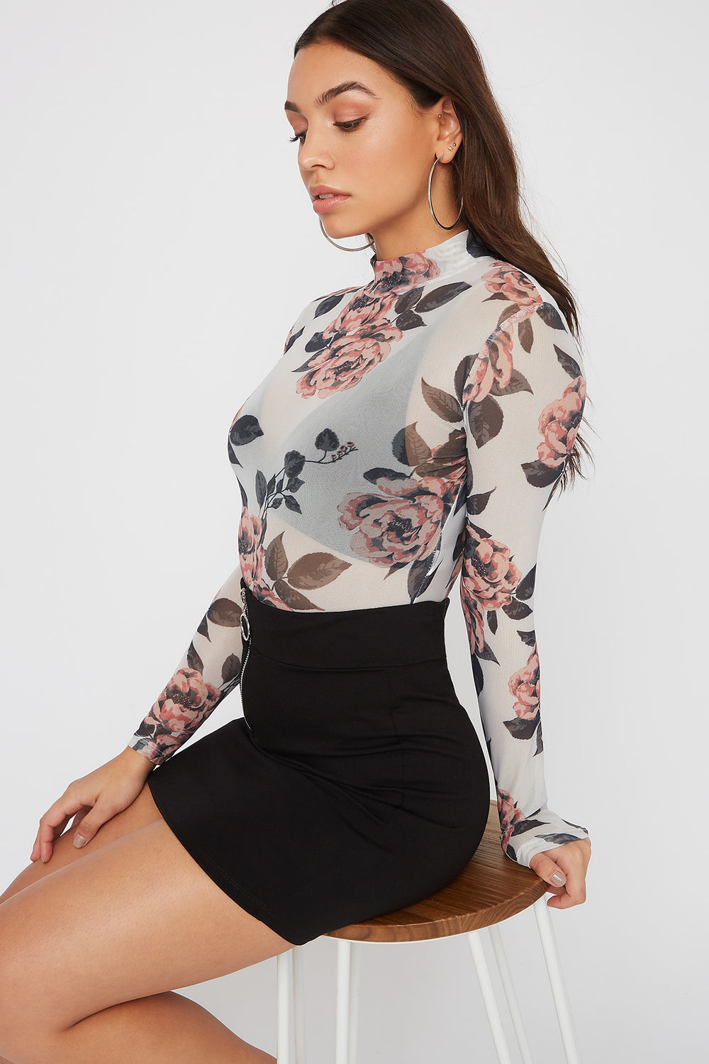Printed Mesh Long Sleeve Bodysuit Lilac