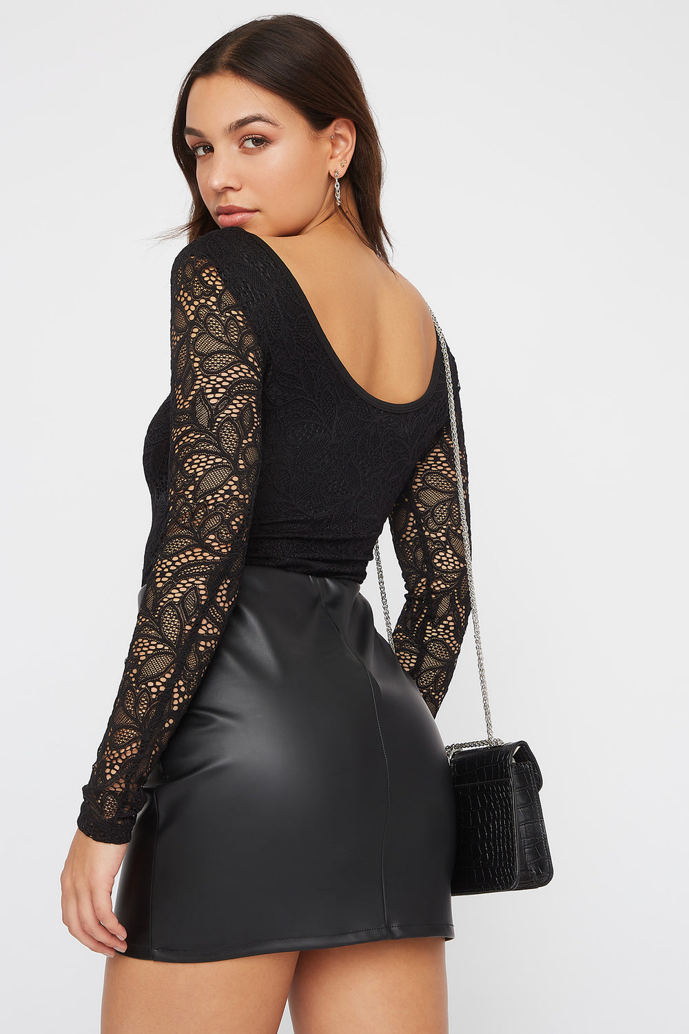 Floral Lace Long Sleeve Bodysuit Black