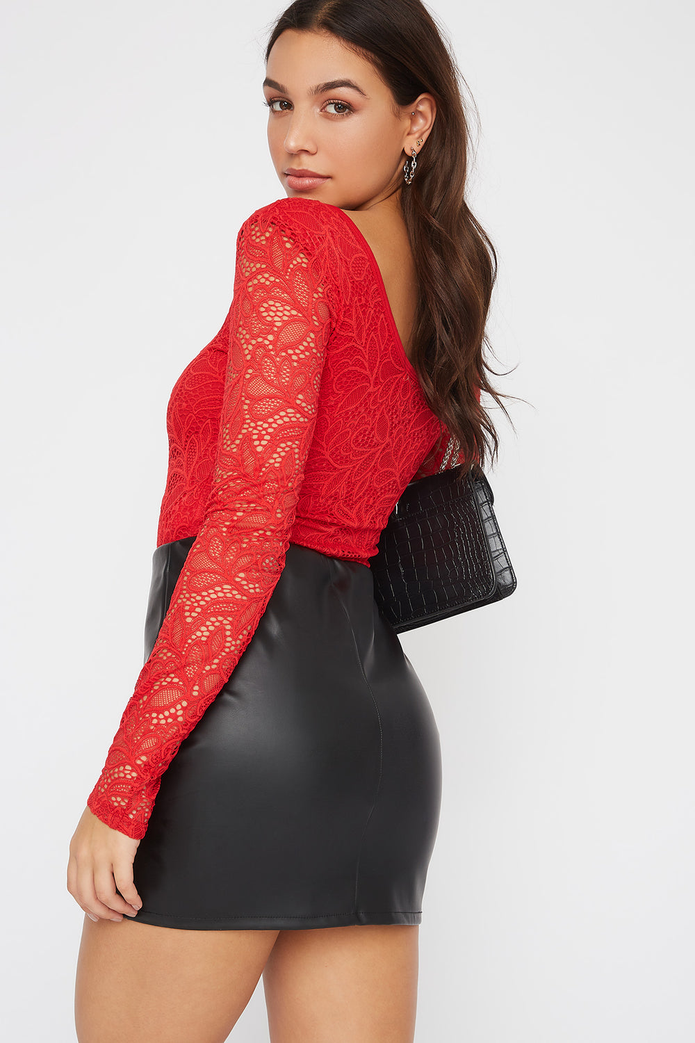 Floral Lace Long Sleeve Bodysuit Bright Red