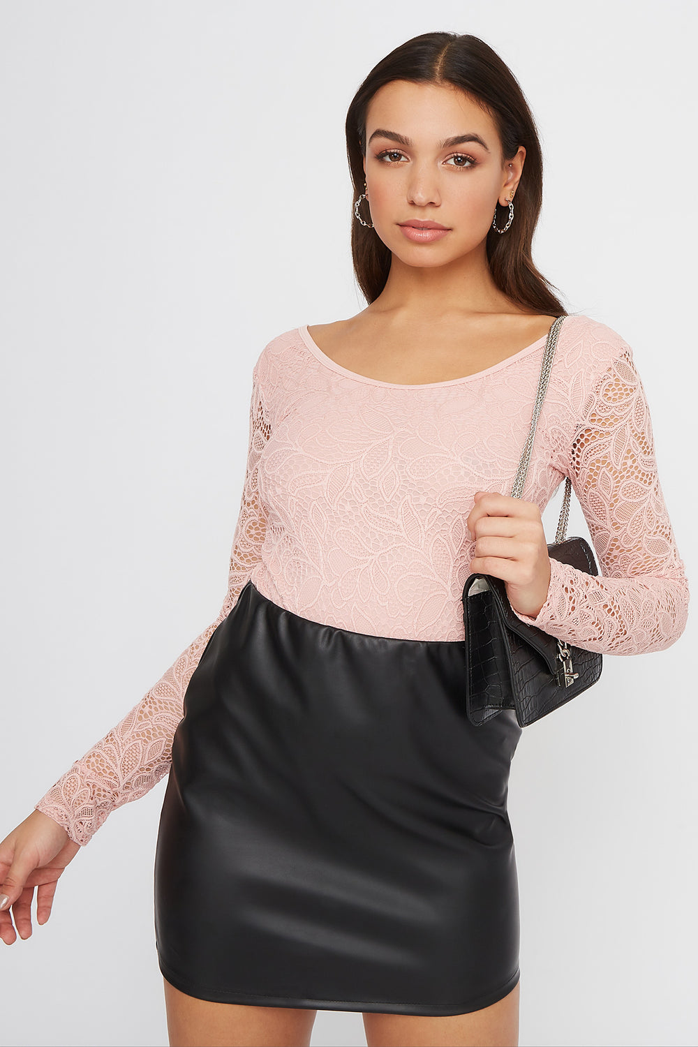 Floral Lace Long Sleeve Bodysuit Rose
