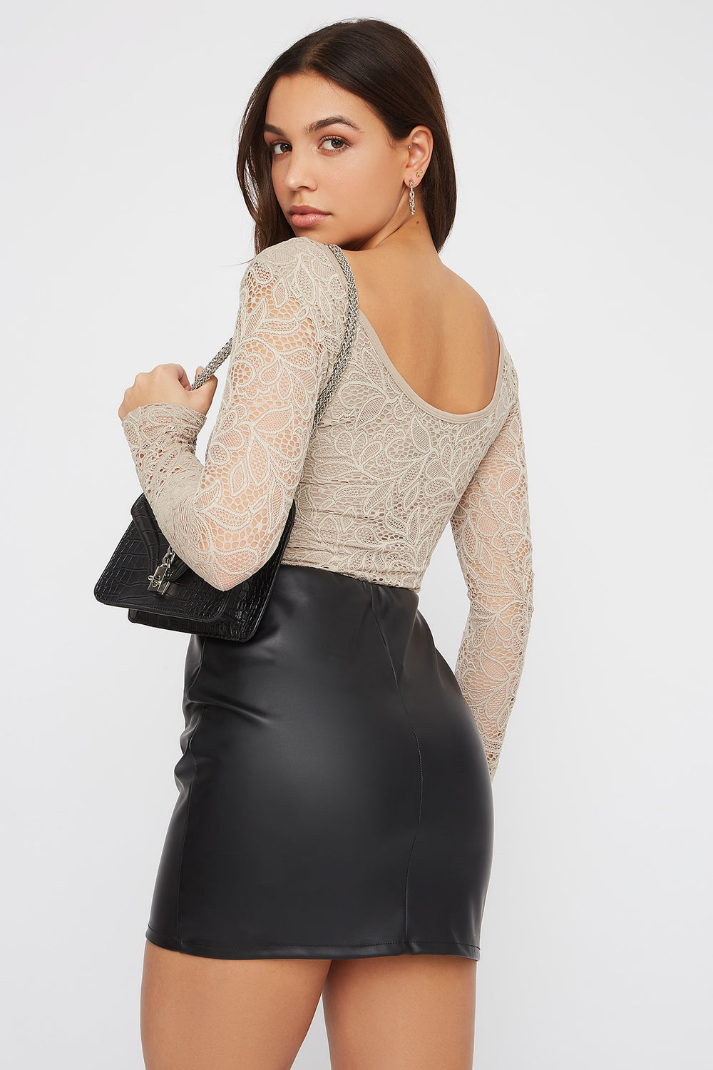 Floral Lace Long Sleeve Bodysuit Taupe