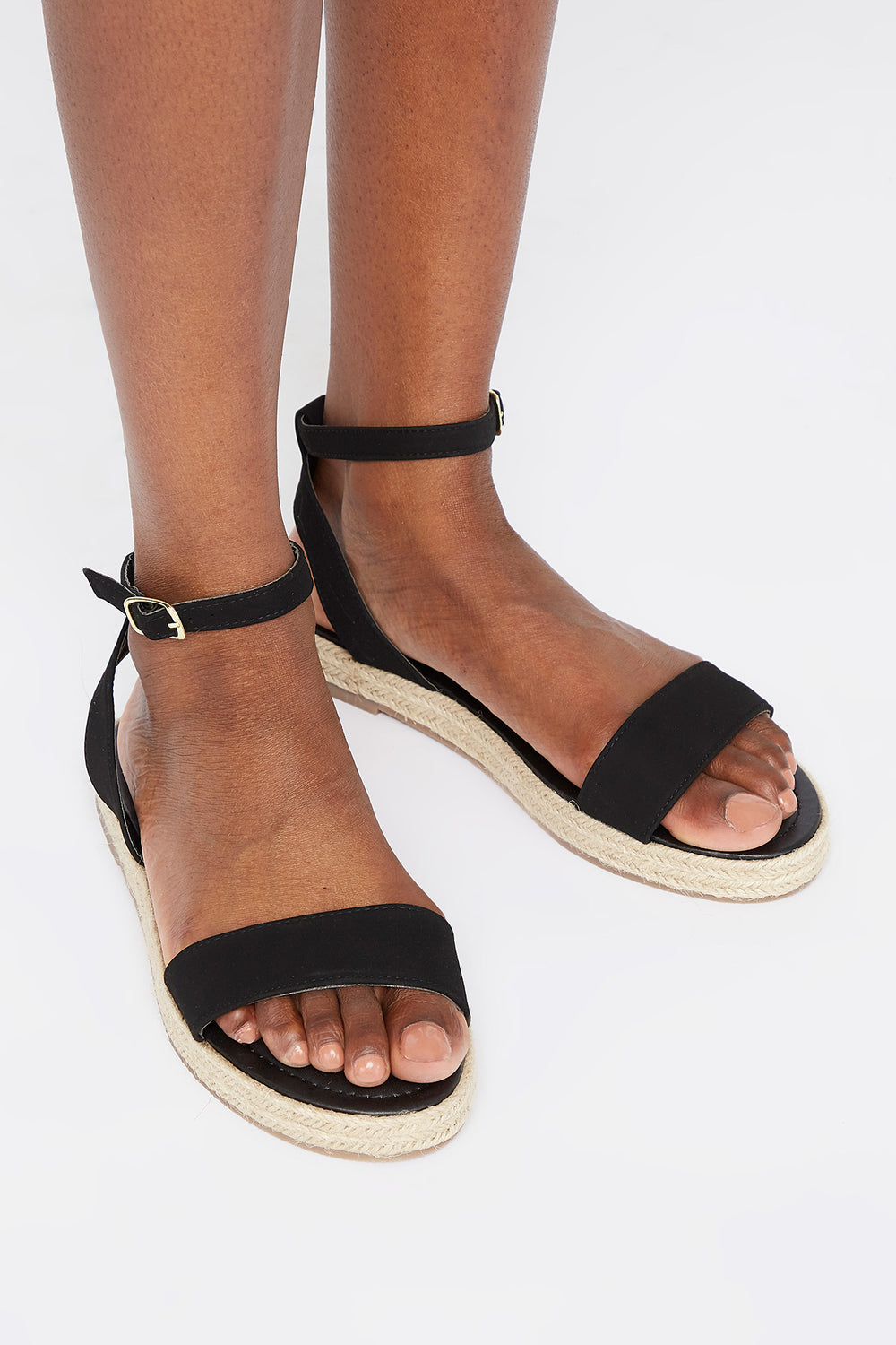 Buckle Band Espadrille Sandal Black
