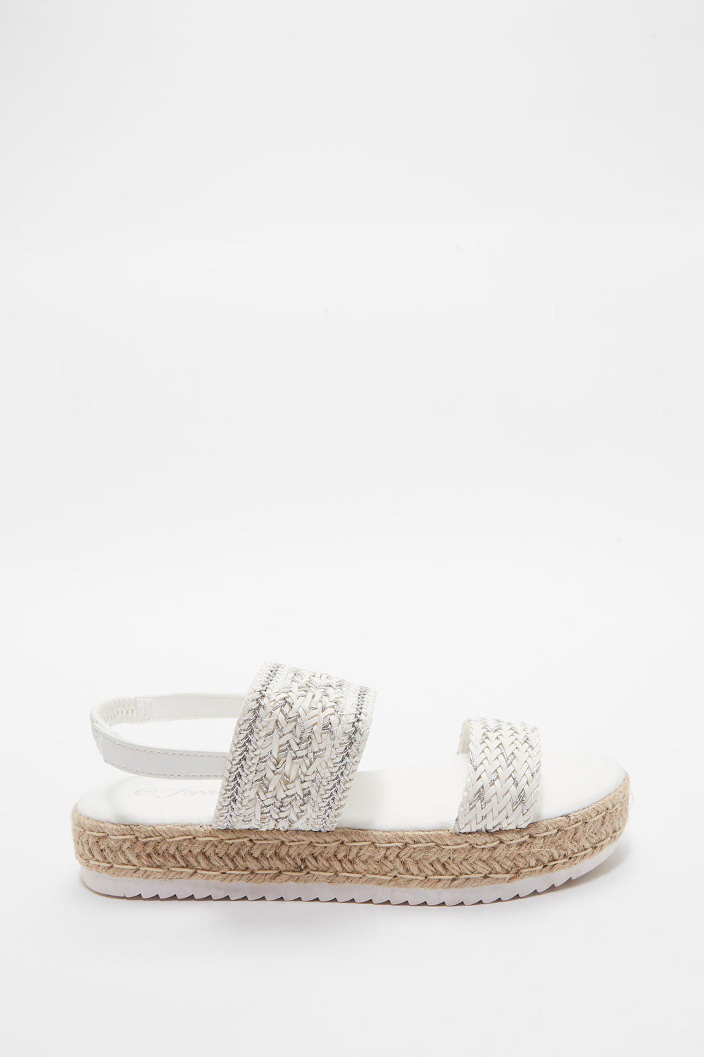 Braided Rope Flatform Sling Sandal White