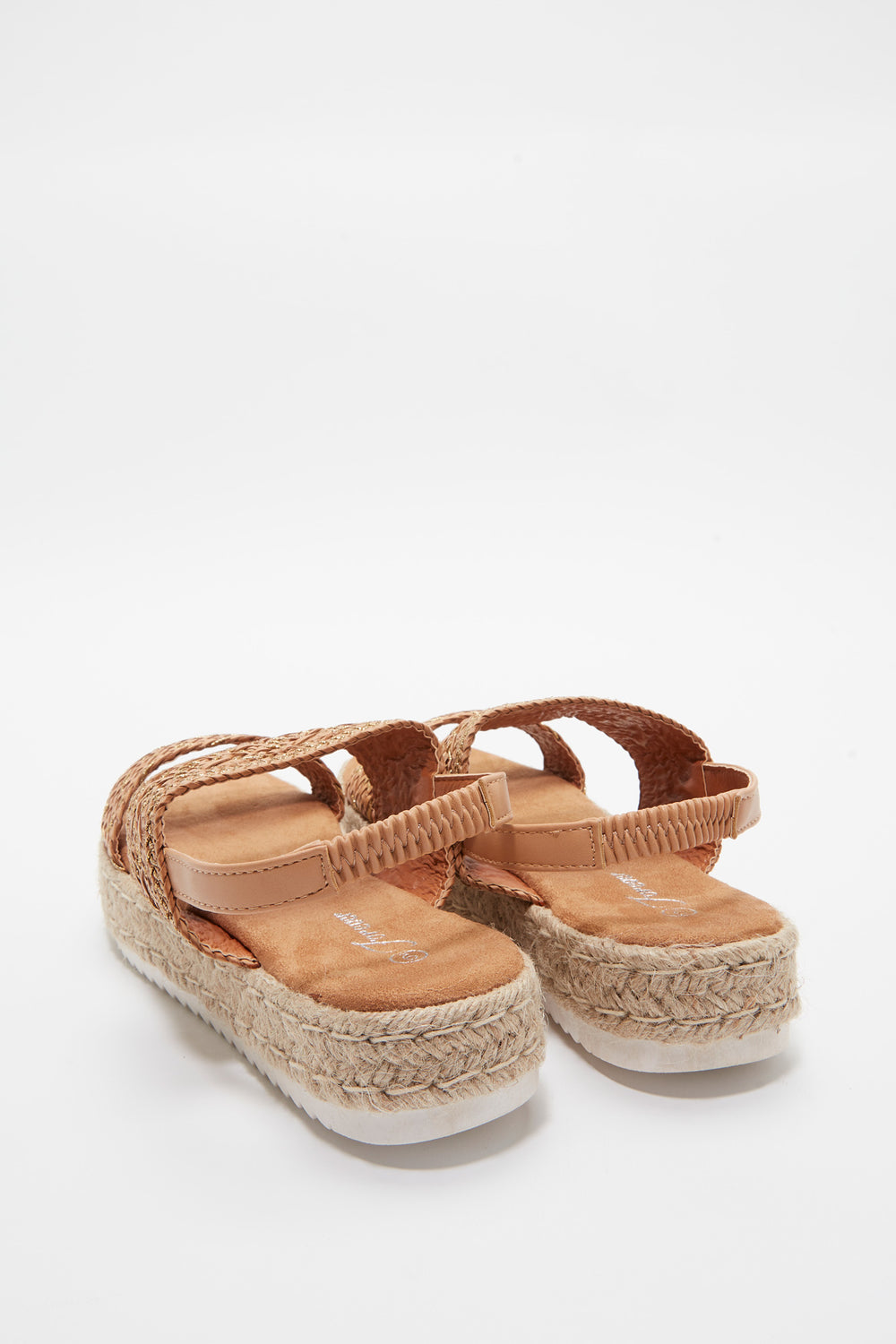 Braided Rope Flatform Sling Sandal Tan