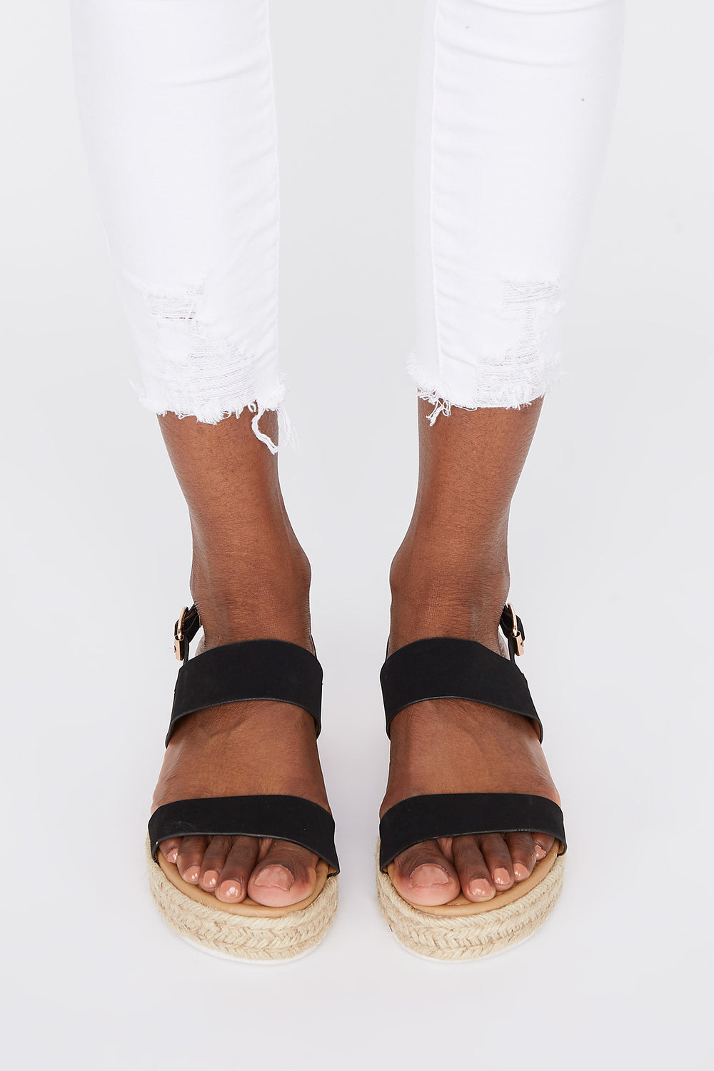 Double Band Platform Espadrille Black