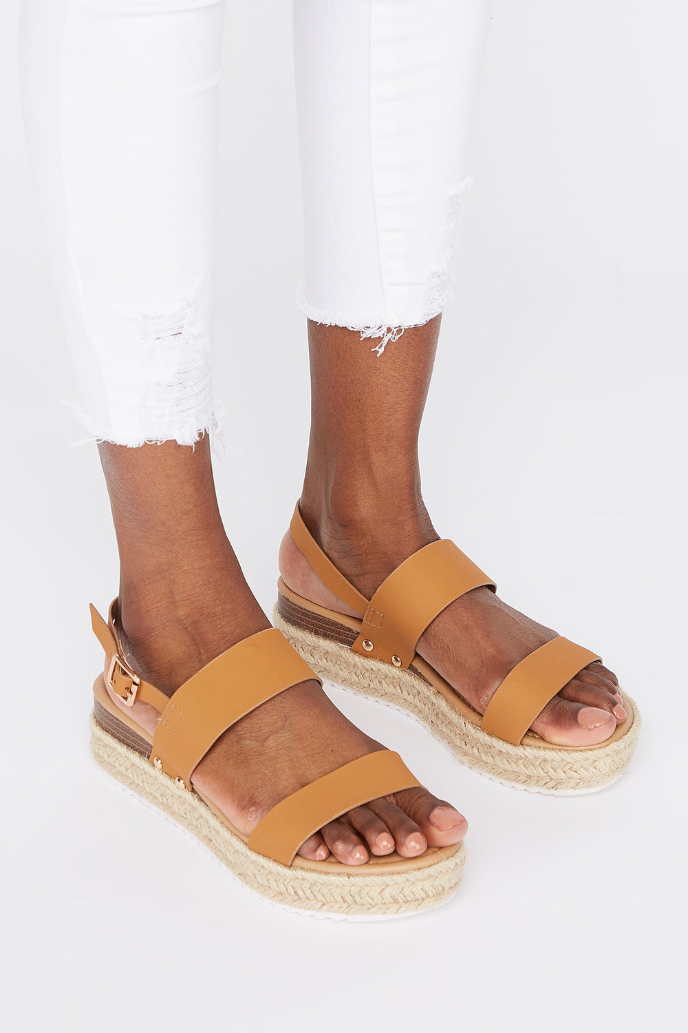 Double Band Platform Espadrille Tan
