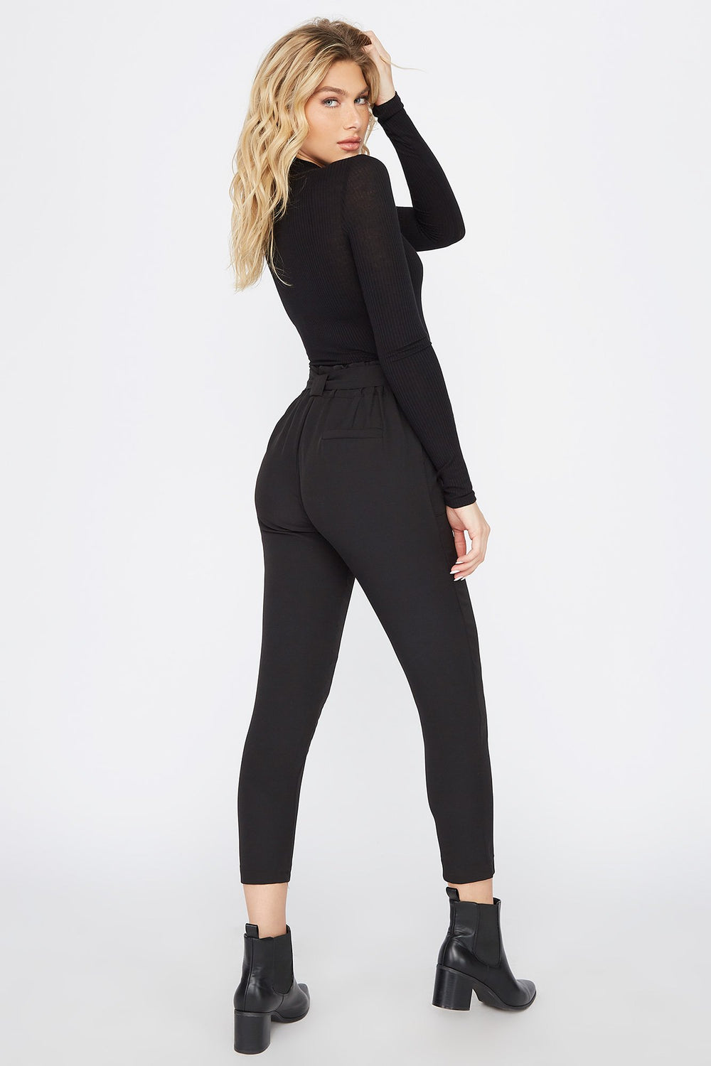Mock Neck Long Sleeve Bodysuit Black