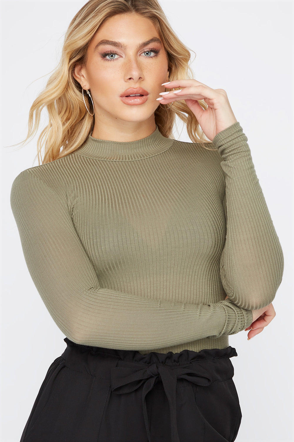 Mock Neck Long Sleeve Bodysuit Dark Green