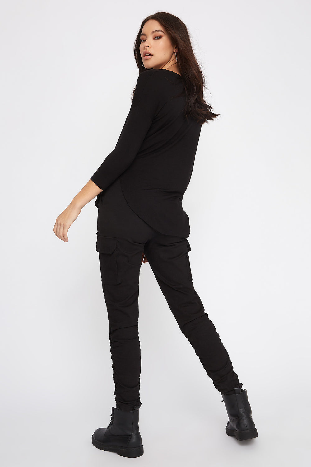 Soft Basic Crew Neck Dolman Long Sleeve Black