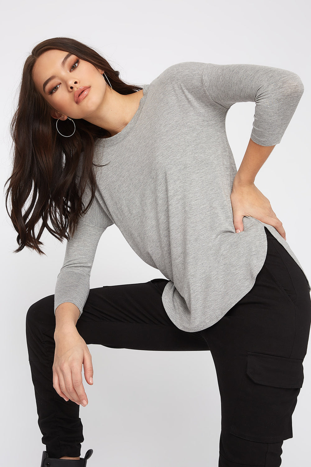 Soft Basic Crew Neck Dolman Long Sleeve Heather Grey