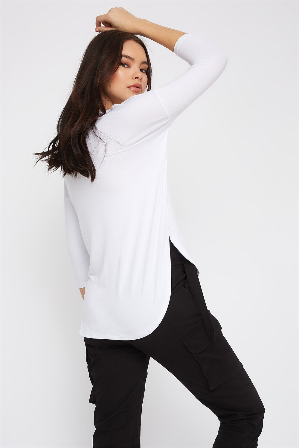 Soft Basic Crew Neck Dolman Long Sleeve White