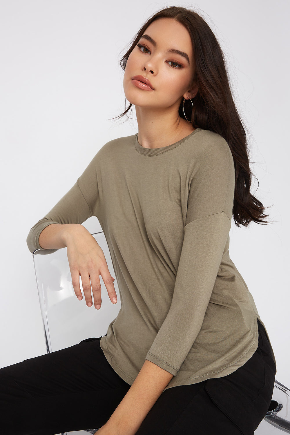 Soft Basic Crew Neck Dolman Long Sleeve Dark Green