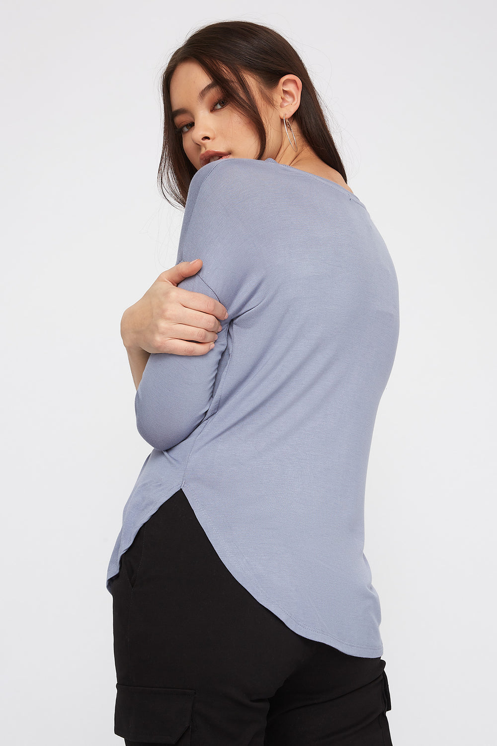 Soft Basic Crew Neck Dolman Long Sleeve Ocean Blue