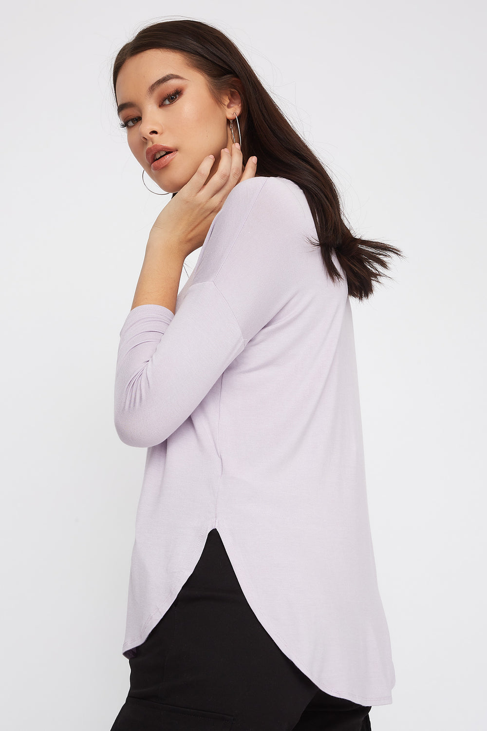 Soft Basic Crew Neck Dolman Long Sleeve Lilac