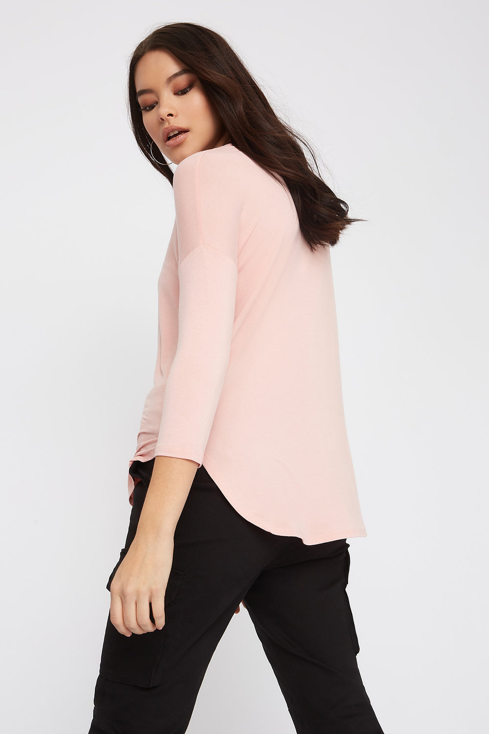 Soft Basic Crew Neck Dolman Long Sleeve Light Pink