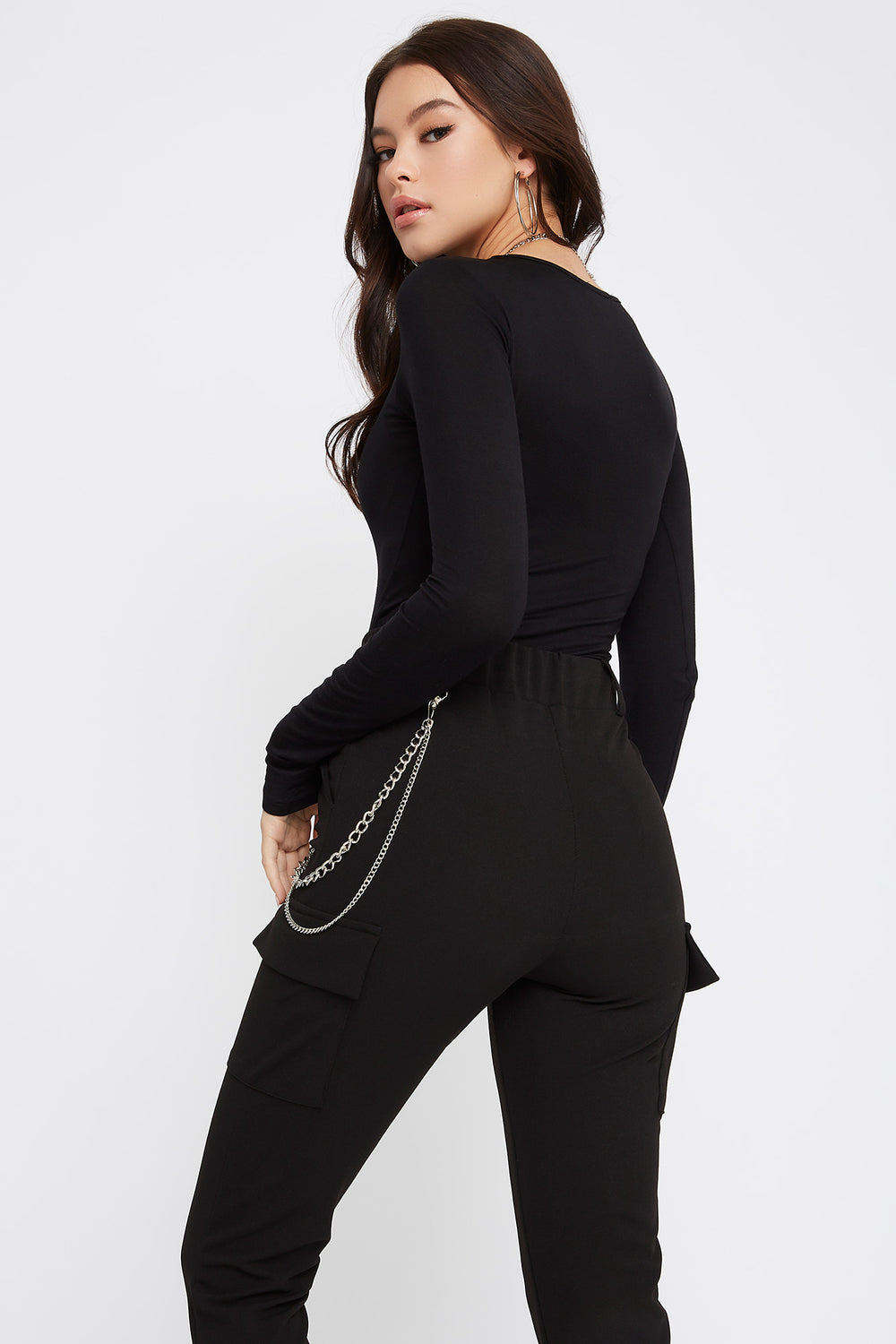 Basic Long Sleeve Bodysuit Black