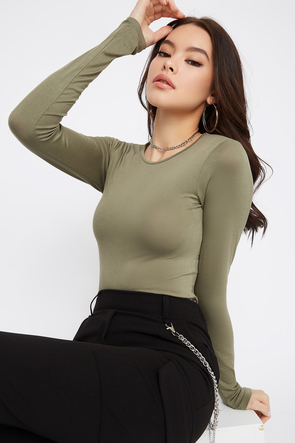 Basic Long Sleeve Bodysuit Dark Green