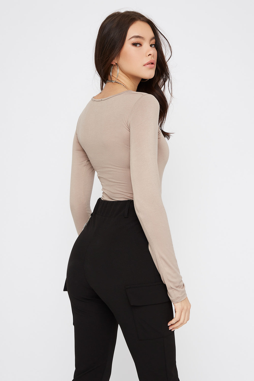 Basic Long Sleeve Bodysuit Taupe