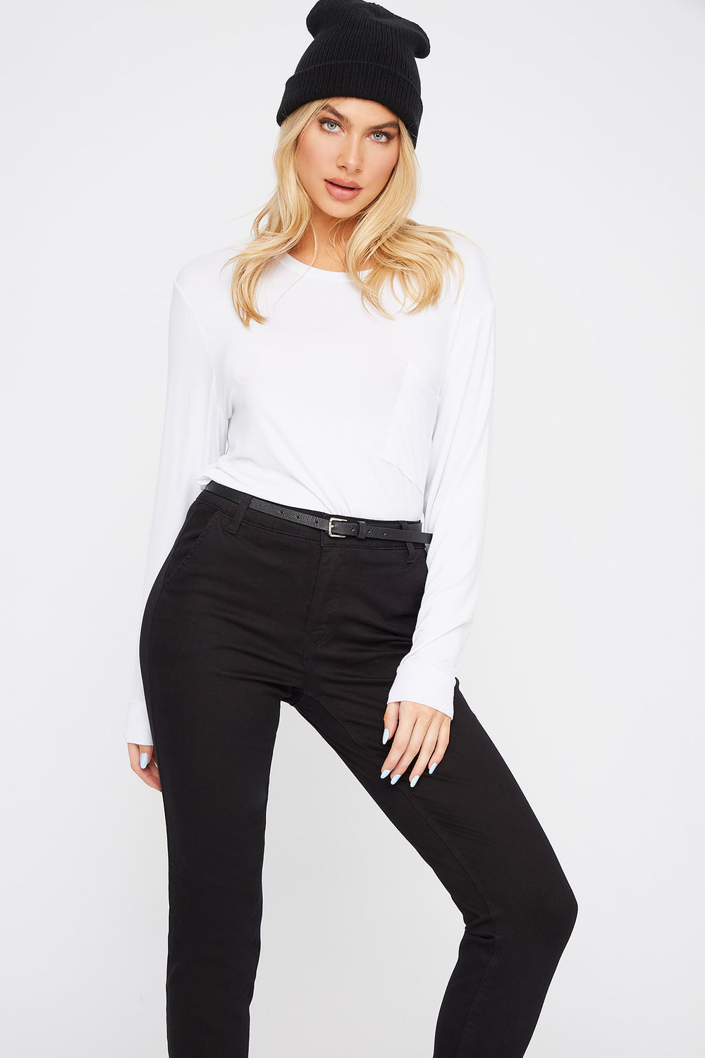 Scoop Neck Pocket Long Sleeve White