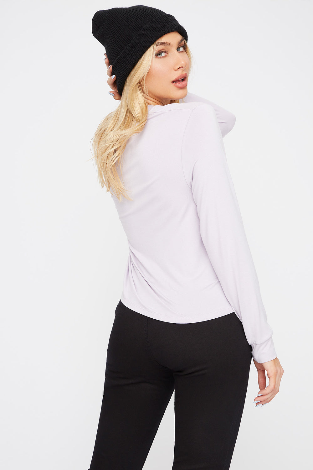 Scoop Neck Pocket Long Sleeve Lilac