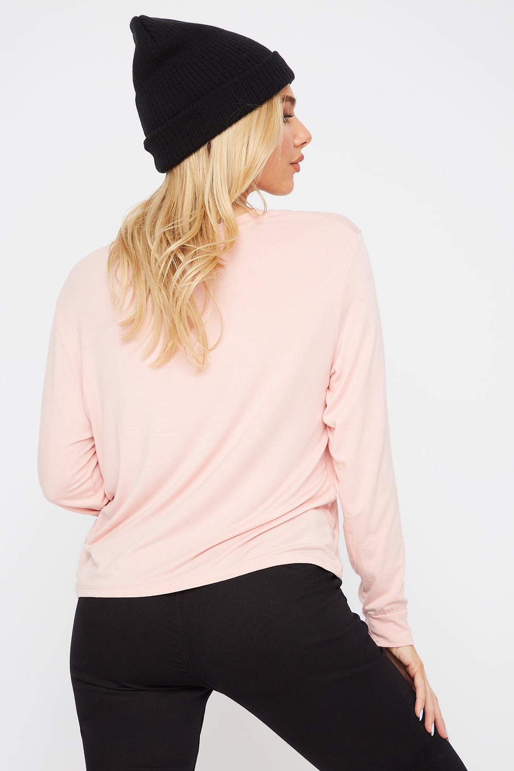Scoop Neck Pocket Long Sleeve Light Pink