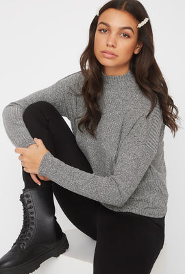 Boxy Mock Neck Long Sleeve Shirt
