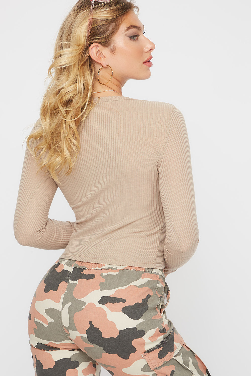 Ribbed Scallop Hem Long Sleeve Taupe