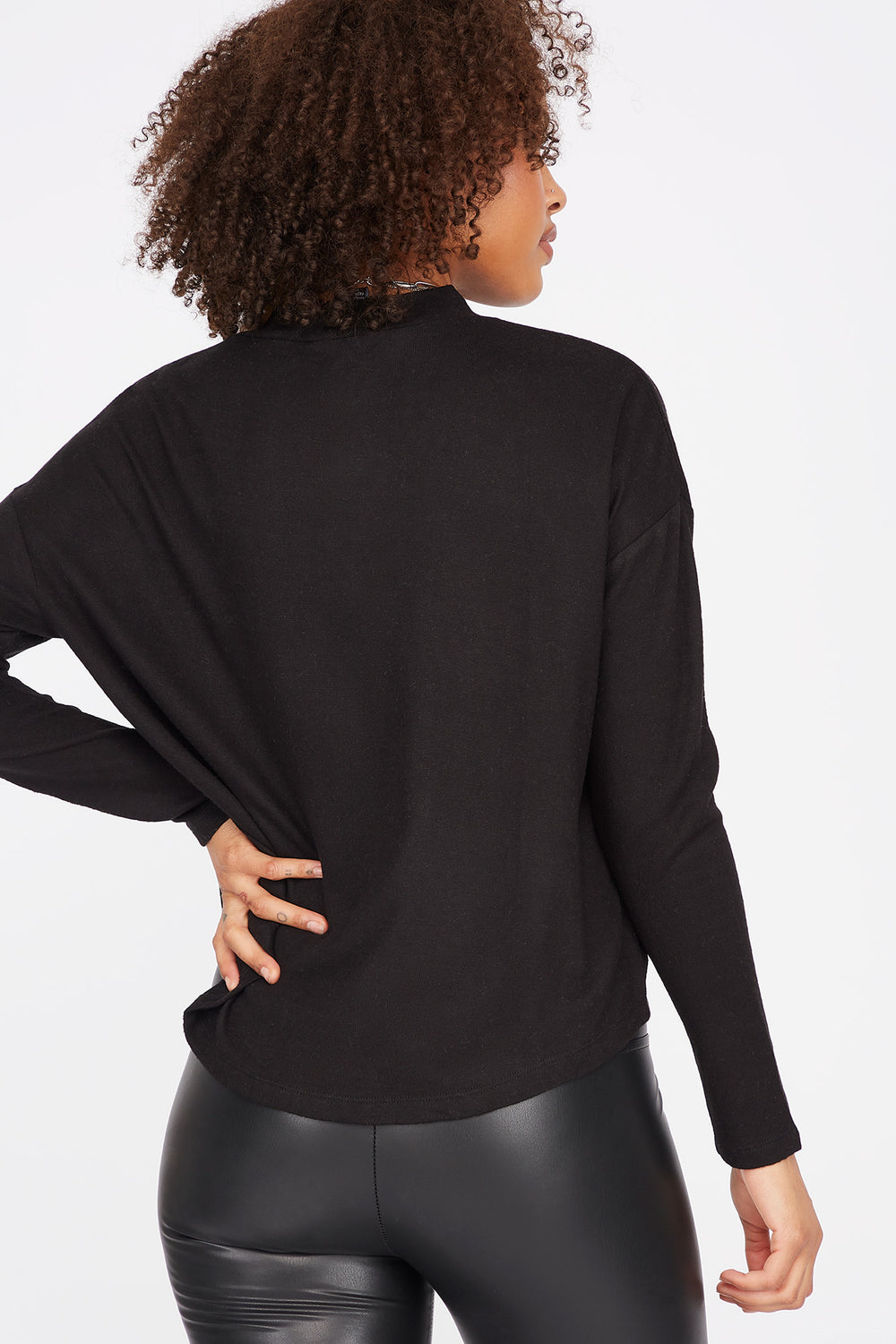 Relaxed Mock Neck Long Dolman Sleeve Top Black