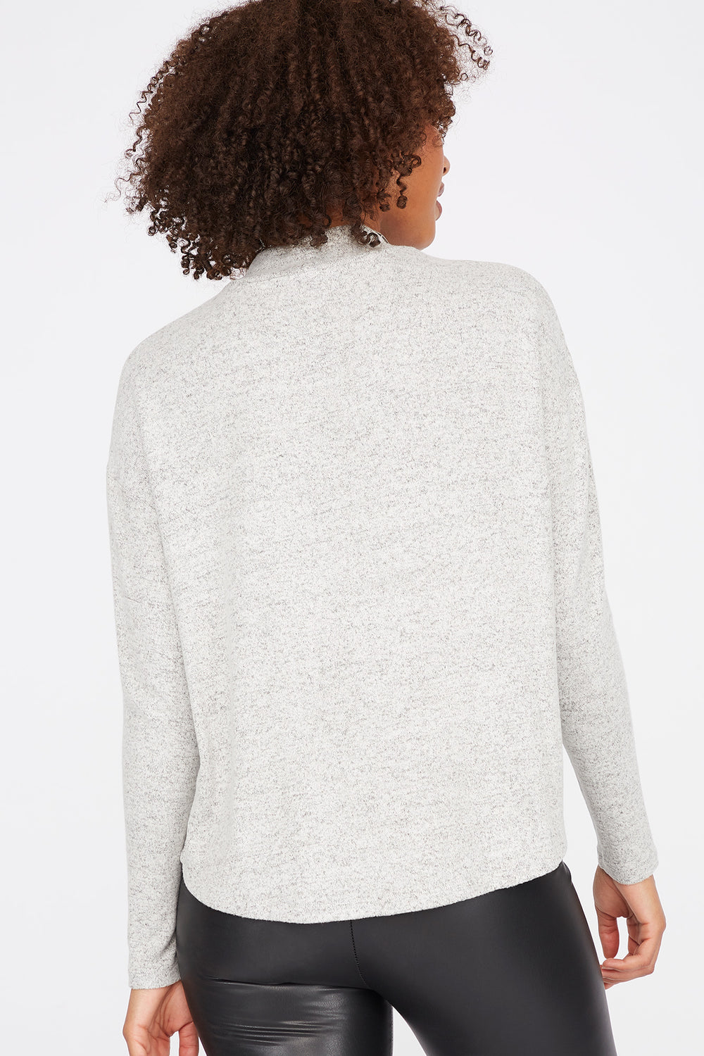 Relaxed Mock Neck Long Dolman Sleeve Top Heather Grey