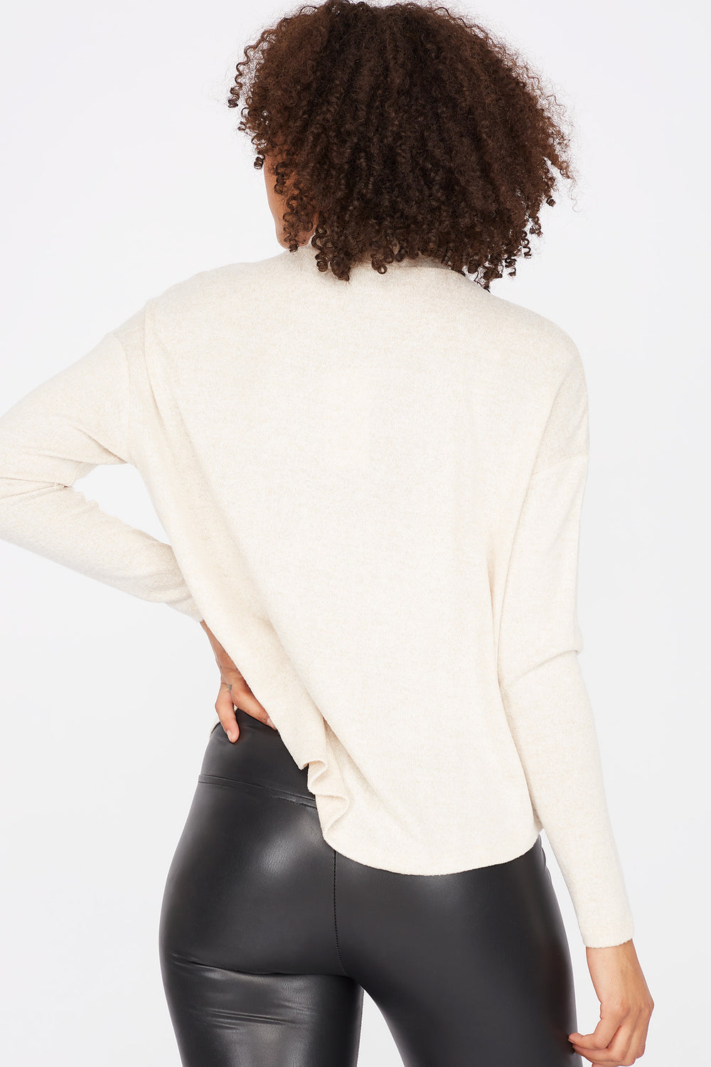 Relaxed Mock Neck Long Dolman Sleeve Top Oatmeal