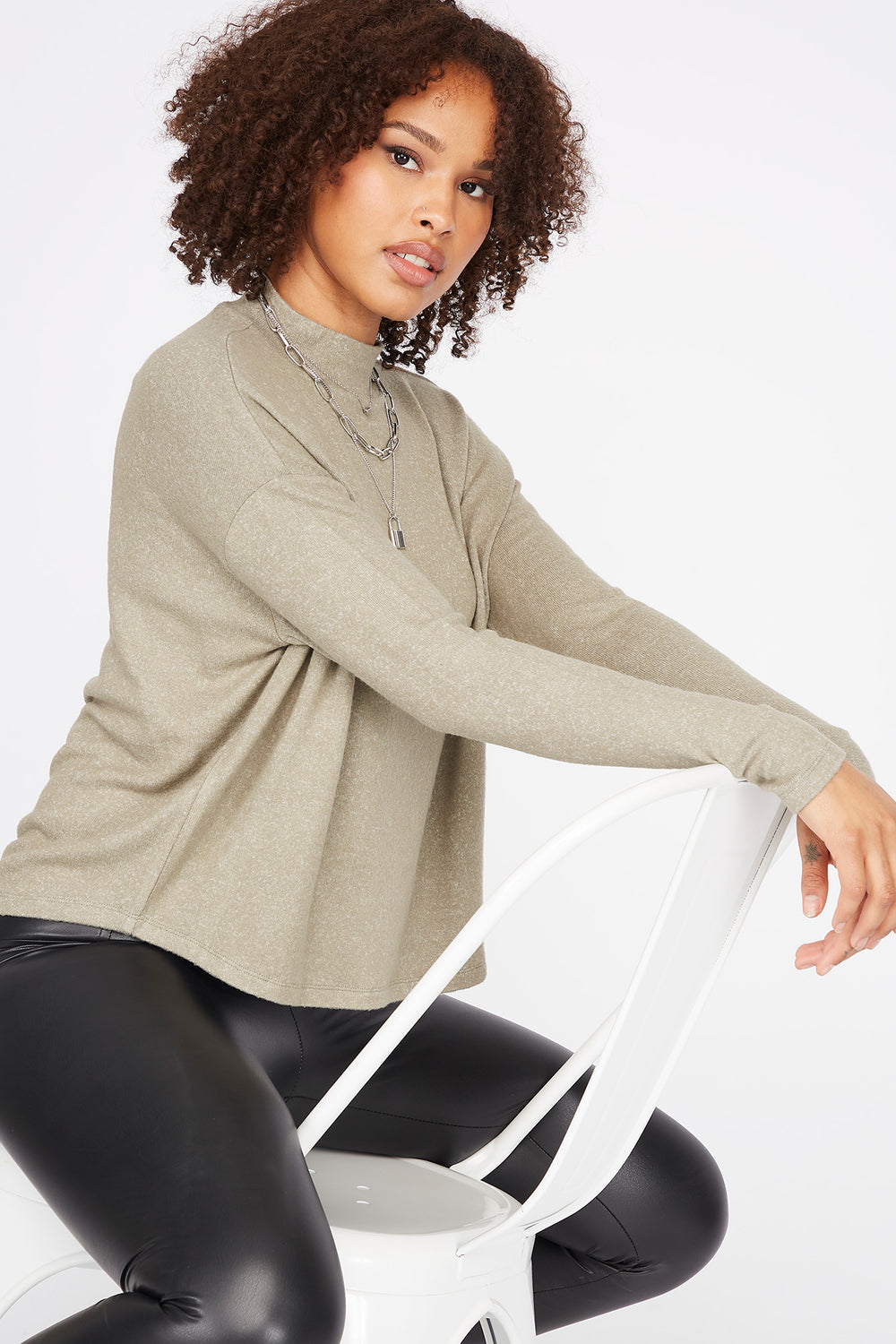 Relaxed Mock Neck Long Dolman Sleeve Top Dark Green