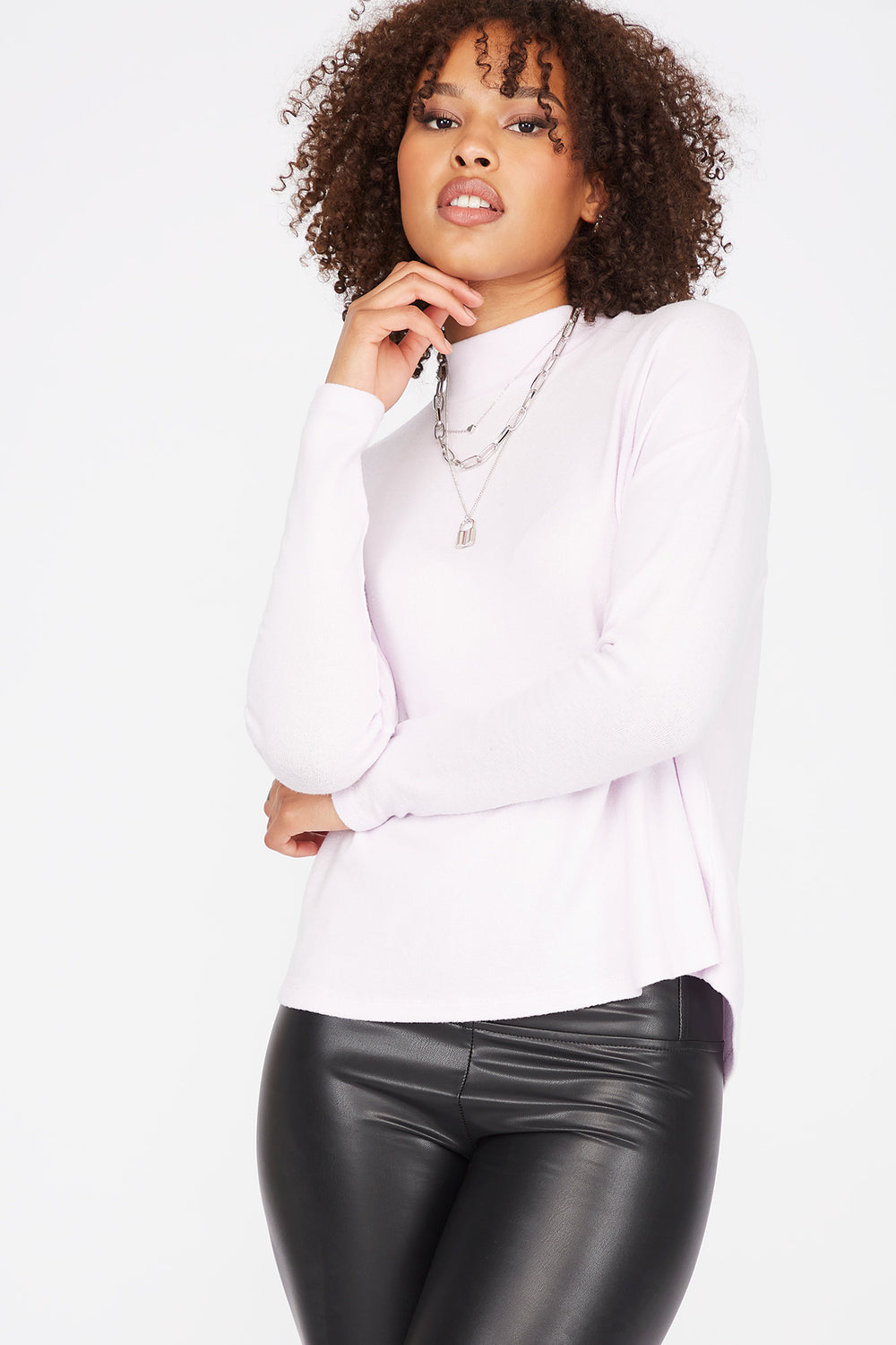 Relaxed Mock Neck Long Dolman Sleeve Top Lilac